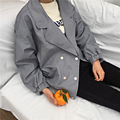 レディース カジュアル/普段着 春 ジャケット,シンプル ショールラペル ソリッド レギュラー コットン 長袖