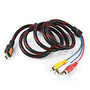 5 pies de entrada masculina a 3 RCA Plug Video Audio AV Cable convertidor del adaptador, Durable (Negro, 1,5 M)