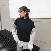 Mujer Simple Casual/Diario Primavera Camisa,Escote Redondo Un Color Manga Larga Poliéster