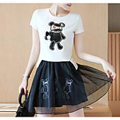 レディース 日常 夏 Tシャツ(21) スカート スーツ,ソークオフ クルーネック ソリッド 半袖