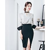Mujer Casual Diario Verano Camisa Falda Trajes A Rayas Mangas largas 70% Wool30% Algodón Microelástico