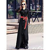 女性用 スウィング ドレス ソリッド マキシ シャツカラー