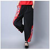 Mujer Sencillo Boho Tiro Alto Eslático Chinos Pantalones,Corte Ancho Pantalones Harén Un Color Estampado
