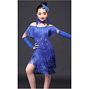 ラテンダンス セット 子供用 性能 プロミックス クリスタル/ラインストーン タッセル 半袖 ハイウエスト ドレス ブレスレット Neckwear