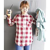 レディース カジュアル/普段着 春 夏 シャツ,シンプル シャツカラー プリント コットン 長袖 薄手