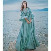 Mujer Corte Swing Vestido Vintage Simple,Un Color Escote en V Profunda Maxi 1/2 Manga Lino Primavera Verano Tiro Alto Microelástico Medio