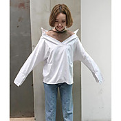 Mujer Simple Casual/Diario Primavera Verano Camisa,Escote en Pico Un Color A Rayas Manga Larga Algodón Fino