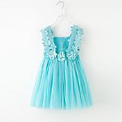 女の子の フラワー 純色 パッチワーク コットン チュール ドレス 夏 ノースリーブ パール ブルー ホワイト ピンク