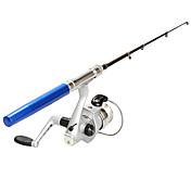Aleación de Aluminio Caña Para Pescar en Hielo Fibra de vidrio 100 cm Pesca en hielo 5 Secciones Cañas + Carrete de la pesca Fast (F)