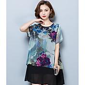 Mujer Simple Casual/Diario Verano Camiseta,Escote Redondo Floral Manga Corta Poliéster