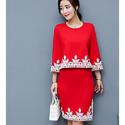 Mujer Primavera Verano Camisa Falda Trajes,Escote Redondo 98% Algodón 2% Spendex Encaje
