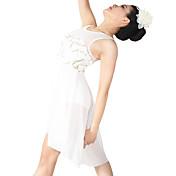 バレエ ワンピース 女性用 子供用 演出 スパンデックス ポリエステル スパンコール スパンコール ドレープ プリーツ 2個 ノースリーブ ナチュラルウエスト ドレス ヘッドピース
