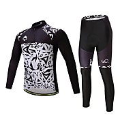 タイツ付きサイクリングジャージー 男女兼用 長袖 バイク 洋服セット 保温 厚型 ポリエステル シリコン フリース ライクラ® 冬 サイクリング/バイク