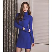 レディース パーティー ボディコン ドレス,ソリッド スタンド 膝上 長袖 その他 冬 ミッドライズ 伸縮性あり 厚手