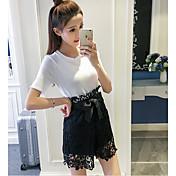 レディース 日常 カジュアル 夏 Tシャツ(21) パンツ スーツ,シンプル ラウンドネック ソリッド 半袖
