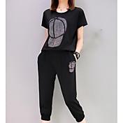 レディース 日常 カジュアル 夏 Tシャツ(21) パンツ スーツ,カジュアル ラウンドネック ソリッド プリント 半袖 マイクロエラスティック