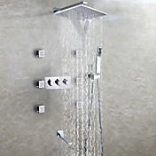 コンテンポラリー 壁式 滝状吐水タイプ レインシャワー ハンドシャワーは含まれている with  セラミックバルブ 3つのハンドル9ホール for  クロム , シャワー水栓