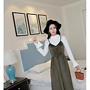 レディース 日常 カジュアル 春 Tシャツ(21) ドレス スーツ,カジュアル スタンド ソリッド 長袖 マイクロエラスティック
