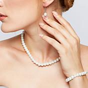 Mujer Perla Conjunto de joyas - Perla Elegante, Nupcial Incluir Collar de hebras / Collar / pendientes Blanco Para Boda / Fiesta / Pendientes / Collare