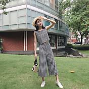 レディース 日常 夏 タンクトップ パンツ スーツ,ソークオフ ラウンドネック ソリッド