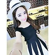 レディース カジュアル 夏 Tシャツ(21) スカート スーツ,チュニック ラウンドネック ソリッド 半袖 strenchy