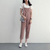 Mujer Sencillo Alta cintura Inelástica Mono Pantalones,Holgado Un Color