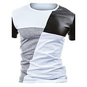 メンズ カジュアル/普段着 オールシーズン Tシャツ,活発的 ラウンドネック カラーブロック コットン ポリエステル 半袖 ミディアム