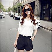 レディース お出かけ カジュアル/普段着 夏 Tシャツ(21) パンツ スーツ,現代風 Vネック ソリッド 半袖