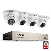 Zosi® 4ch 1080p sistema de seguridad de video hd completo con 4x 2.0mp 1080p cámaras domo impermeables disco duro 1tb