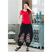 Mujer Tejido Oriental Media cintura strenchy Corte Ancho Perneras anchas Holgado Pantalones,Bordado Primavera Verano