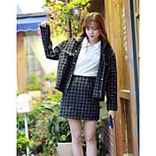 レディース 日常 夏 ブレザー スカート スーツ,ソークオフ ラウンドネック 格子柄 長袖