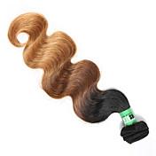 Cabello humano Cabello Malayo Ombre Ondulado Grande Extensiones de cabello 1 Pieza Negro / Medio Brown / Strawberry Blonde