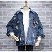 レディース 日常 春 秋 デニムジャケット,カジュアル シャツカラー ソリッド レギュラー コットン 長袖