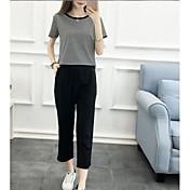 Mujer Simple Otros Casual Verano Camisas Pantalón Trajes,Escote Redondo Otros Manga Corta Inelástica