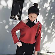 レディース カジュアル/普段着 シャツ,シンプル Vネック ストライプ コットン 七分袖