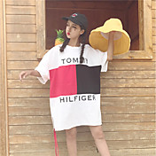 Mujer Chic de Calle Casual/Diario Camiseta,Escote Redondo Estampado Bloques Letra Media Manga Algodón