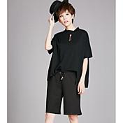 Mujer Simple Casual/Diario Verano T-Shirt Pantalón Trajes,Cuello Barco Un Color Manga Corta
