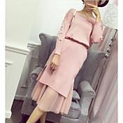 Mujer Simple Casual/Diario Primavera Otoño Camiseta Falda Trajes,Escote Redondo Un Color Mangas largas Licra