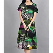 Mujer Tejido Oriental Línea A Corte Ancho Vestido Un Color Floral Tiro Alto