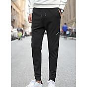 Hombre Casual Tiro Medio Microelástico Delgado Pantalones de Deporte Pantalones, Un Color Verano