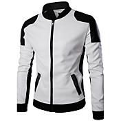 メンズ カジュアル/普段着 冬 レザージャケット,シンプル スタンド カラーブロック レギュラー ポリウレタン 長袖