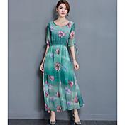 女性用 お出かけ シース マキシ ドレス,フラワー 半袖 ラウンドネック 夏