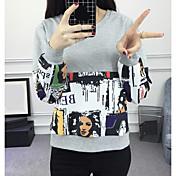 Mujer Sudadera Casual/Diario Estampado Escote Redondo Microelástico Poliéster Manga Larga Primavera