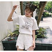 レディース カジュアル/普段着 Tシャツ,キュート ラウンドネック ソリッド プリント コットン 半袖