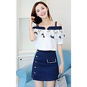 レディース カジュアル/普段着 夏 Tシャツ(21) スカート スーツ,シンプル ボートネック シンプル 半袖