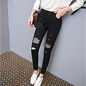 Mujer Fino Un Color Un Color Punto de Encaje Legging,Negro
