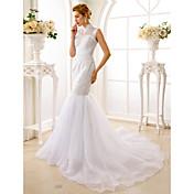 Trompeta / Sirena Cuello Alto Corte Encaje Organza Vestido de novia con Cuentas Apliques por LAN TING BRIDE®