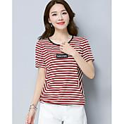 Mujer Simple Noche Camiseta,Escote Redondo A Rayas Manga Corta Algodón