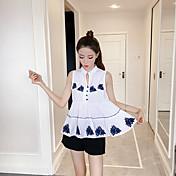 レディース カジュアル/普段着 シャツ,シンプル Vネック ストライプ 刺繍 コットン ノースリーブ