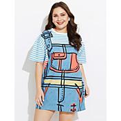 Mujer Vaina Vestido Trabajo Un Color A Rayas Estampado Escote Redondo Hasta la Rodilla Manga Corta Algodón Primavera Tiro Medio